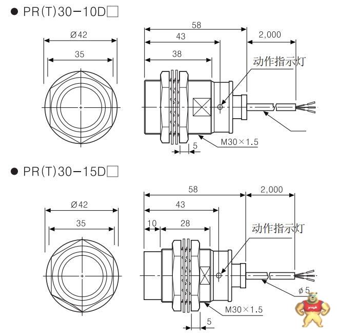 应用广泛,可替代微动开关及限位开关 prt30-10do/10dc接近开关的