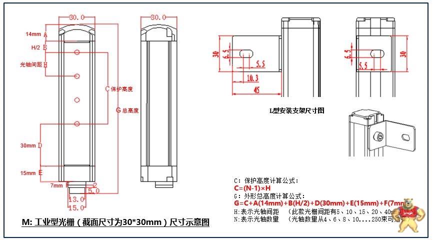 希默simer 自动化专用安全光栅 安全光幕 sm-m0810n1cba